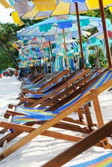 Beach Umbrellas And Sunbeds Stock Photos