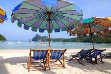 Beach Umbrellas And Sunbeds Stock Photos