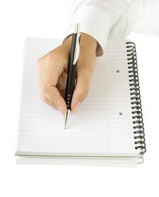 Free Pen In Hand Writing On The White Page Stock Images - 15864614