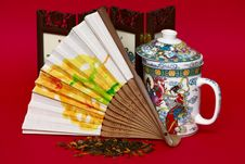 Free Fan And Cup In Asian Style Stock Image - 15867071