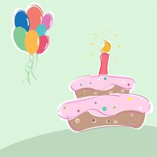 Free Vector Birthday Cake And Balloons Royalty Free Stock Image - 15868786