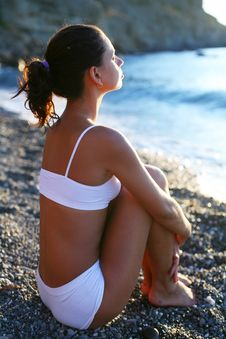 Free Woman Meditating On The Beach. Stock Photo - 15868840