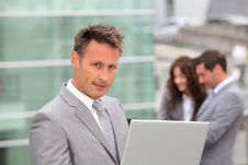 Free Portrait Of Businessman With Laptop Computer Stock Image - 15869441