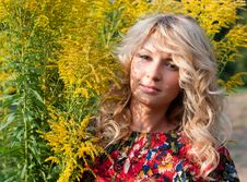 Beautiful Blondie With Wild Flowers Stock Images