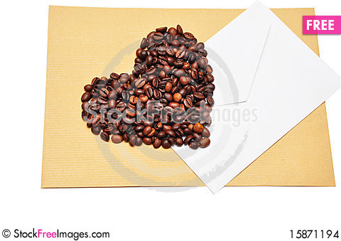 Free Coffee Beans In The Form Of Heart Stock Images - 15871194