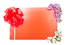Red Card With Bow Royalty Free Stock Photos