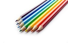 Free Colored Pencils Arranged In Rainbow Spectrum Order Royalty Free Stock Photos - 15870958