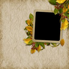 Card For The Holiday  With Autumn Leaves Royalty Free Stock Image