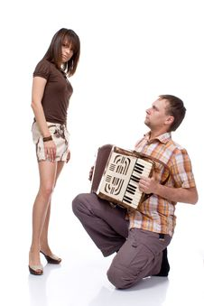 Free Guy Sings A Song For A Girl Royalty Free Stock Image - 15871946