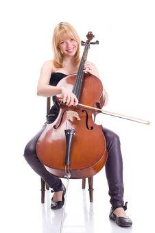 Girl With A Cello Stock Photography