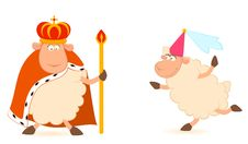 Free King Of Sheep In A Crown With A Princess Royalty Free Stock Image - 15872136