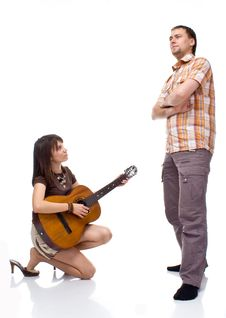 Free Girl Plays The Guitar For A Boy Royalty Free Stock Photo - 15873485