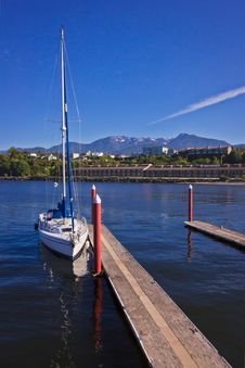 A Sailing Boat Tied In A Footbridge Stock Images
