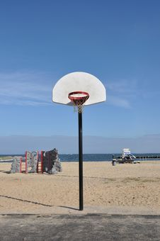 Basketball On The Beach Royalty Free Stock Image
