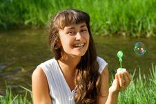 Free Smiling Girl With Colorful Bubble Stock Image - 15873931