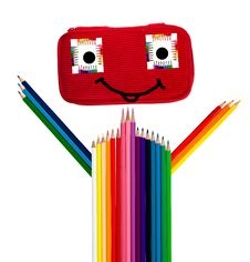 Guy Made Of Crayons And Other School Supplies Royalty Free Stock Image