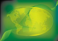 Green  Earth Or Globe Stylized With Lines Royalty Free Stock Image