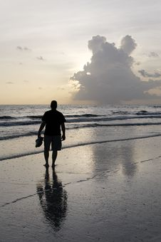 Free Man On A Cloudy Sea Royalty Free Stock Photography - 15875137