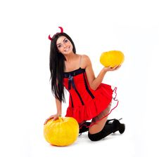 Free Woman With A Pumpkin Stock Photography - 15875742