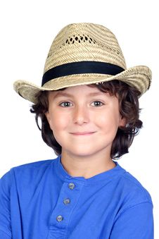 Free Funny Child With Straw Hat Royalty Free Stock Image - 15876366
