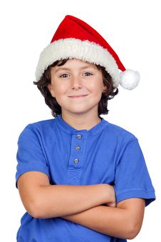 Free Funny Child With Santa Hat Royalty Free Stock Photo - 15876515