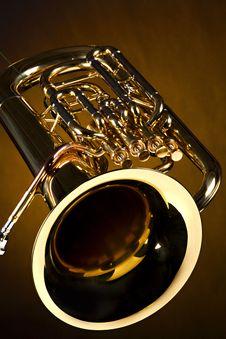 Free Tuba Euphonium Isolated On Gold Royalty Free Stock Image - 15876956