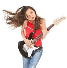 Free Girl With A Guitar Royalty Free Stock Image - 15877466