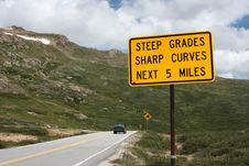 Free Steep Grades And Curves - Road Sign Stock Photo - 15877550