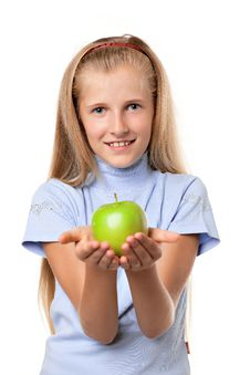 Free Girl With Apple Royalty Free Stock Images - 15877709