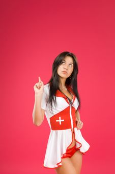 Free Sensual Brunette Nurse Posing Royalty Free Stock Photo - 15877875