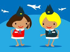 Free Stewardess At The Airport Vector Royalty Free Stock Photo - 15878115