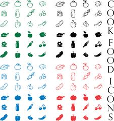 Free Cook Food Icons Vector Set Royalty Free Stock Photo - 15878215