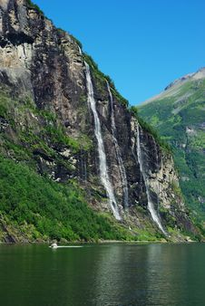 Mountain River With Waterfall In Norway Royalty Free Stock Images