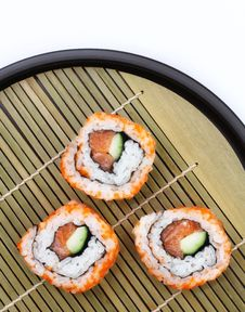 Free Sliced Sushi On Tray Stock Image - 15878891
