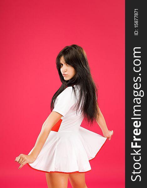Sensual brunette girl posing on