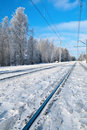 Free Winter Railroad. Stock Image - 15885781