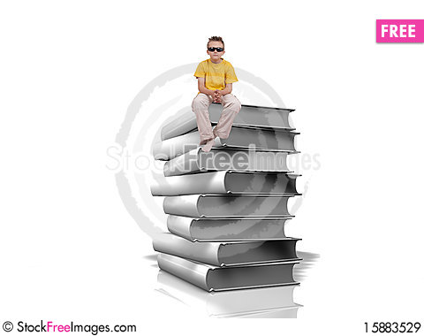 Free Boy Sit On Top Of Pile Of White Books Royalty Free Stock Images - 15883529