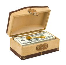Money And Key In Box Stock Photography