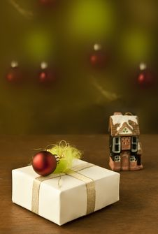 Present Box With Christmas Decoration Stock Images