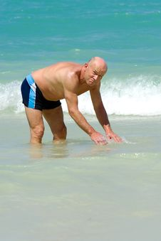 Free Senior Man In Water Royalty Free Stock Image - 15883366