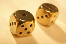 Free Two Brass Dice Royalty Free Stock Photography - 15883707