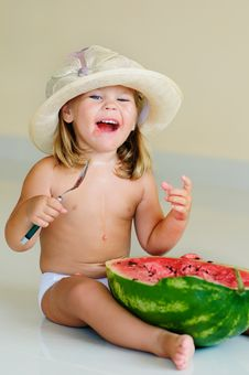Free Funny Cute Child Eating Watermelon Stock Images - 15885294