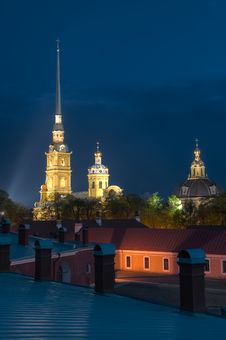 Peter And Paul Cathedral At Night. Stock Image