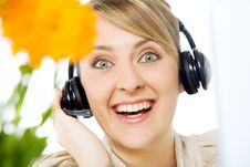 Happy Woman Headset Stock Photography