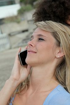 Free Beautiful Blond Woman On The Phone Royalty Free Stock Image - 15886176