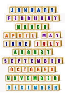 Building Block Months Royalty Free Stock Images