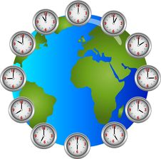 Free Earch Clocks Circle Hourly Stock Images - 15886844