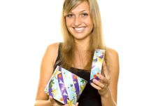 Free Woman Unwrapping Xmas Gift Royalty Free Stock Photography - 15889287