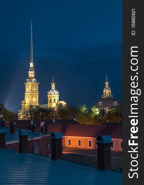 Peter and Paul Cathedral at night.