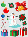 Free Set Of Christmas And New Year Decorations Stock Photography - 15892012